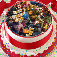 AVENGERS MIXED HAPPY BIRTHDAY PERSONALISED 7.5 INCH EDIBLE CAKE TOPPER B-002G