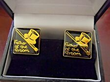 STYLISH*FATHER OF THE GROOM*TOP HAT & CANE DESIGN BOXED TOGGLE BAR CUFFLINKS
