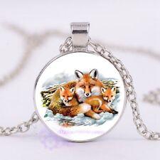 Fox Family Cabochon Glass Tibet Silver  Women's Charm  Pendant  Necklace