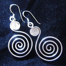 Fashion Earrings silver Hill tribe Tribal spiral welle Spin Coil Ohrringe ER15