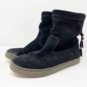 OluKai Women's Black Casual Kapa Moe Suede Leather Boots Drawstring US 8.5