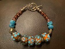 Vintage Designer Art Glass Bead Bracelet Toggle Clasp