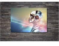 Banksy DJ Skull Canvas Wall Art Print Home Decor