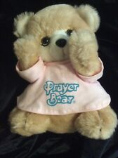 "Applause Prayer Bear Plush 11"" Pink Shirt 1984 Stuffed Animal"
