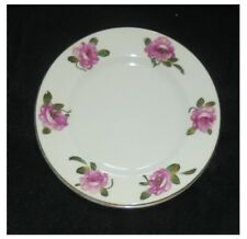 SET OF 6 CROWN STAFFORDSHIRE BONE CHINA SIDE PLATES WITH PINK FLOWERS