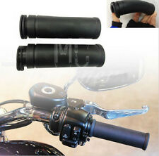 """1""""25mm Black Moto Rubber Hand Grips HandleBar For Harley twin cable throttle"""