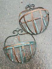"""Rustic Set Wrought Iron Strap Hanging Half Wall Basket Metal Flower Planter 16"""""""