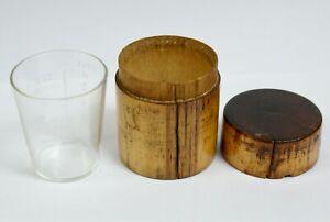 "Antique Medicine Measuring Glass ""Cave Chemist"" In Wooden Case"