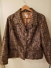 Chicos Womens Open Front Blazer Jacket Sz 2  Abstract Print