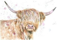 Highland Cow Picture A4 Watercolour Print