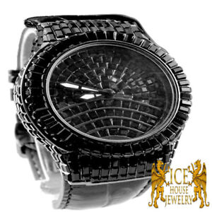 Black Gold Finish New Mens Baguette Simulated Stone Genuine Leather Wrist Watch