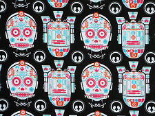 FAT QUARTER  STAR WARS FABRIC  SUGAR SKULLS  R2D2 CP30  CAMELOT  100% COTTON  FQ