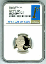 2020 S JEFFERSON PROOF NGC PF70 UCAM FIRST DAY ISSUE 5 CENT 1ST LABEL