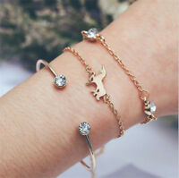3pcs/Set Women Simple Cartoon Animal Bracelets Open Cuff Bangles Fashion Jewelry