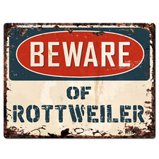 PPDG0078 Beware of ROTTWEILER Plate Rustic TIN Chic Sign Decor Gift