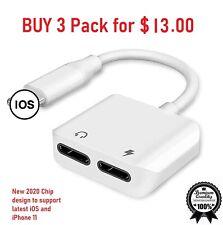 iPhone 11 Pro 7 8 + X XR XS Lightning Dual Splitter Adapter Headphone & Charger
