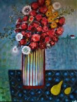"""Original oil painting, listed and signed by Nalan Laluk: """"What a Potful!"""""""