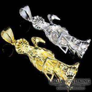 Solid Sterling Silver Gold Tone Santa Muerte Pendant Reaper Angel of Death Charm