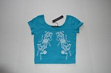 NWT JUNIORS EMBROIDERED CROP TOP TEAL SHORT SLEEVE FLOWERS WHITE SZ MEDIUM USA
