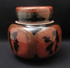 STUNNING SIGNED REG PRESTON AUSTRALIAN STUDIO STONEWARE POTTERY LIDDED JAR POT