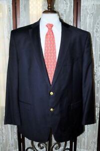 Lauren Ralph Lauren 50 L navy blue gold button 100% wool sport coat blazer y1j1