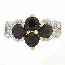 14k Yellow Gold Sapphire & Diamond Accent Cluster Ring Size 6.5