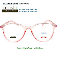 MIASTO MULTI-FOCAL COMPUTER READER READING GLASSES+2.00 NO LINE ANTI-GLARE~PINK