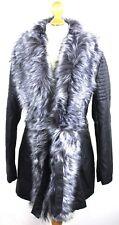 Womens Ladies Black Faux PU Leather Zipped Biker Jacket Size XL