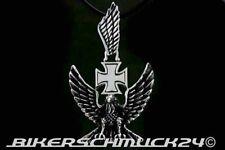 Adler Anhänger mit Eisernem Kreuz, 3D-Schmuckanhänger, Edelstahl, Lederband