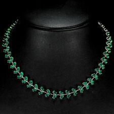 Silver 925 Genuine Natural Aventurine Cabochon Gemstone Necklace 16 Inches