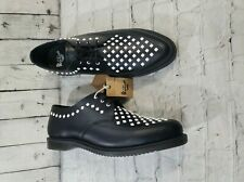 Dr. Doc Martens Willis Creeper Studded Leather Shoes Black White WOMEN'S SIZE 6