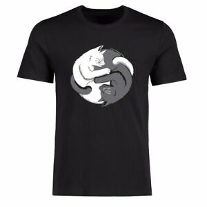 Men Funny T-shirt's Black and White Cat Graphic Tee Cotton Short Sleeve top