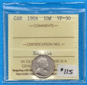 Canada 1904 10 Cents Ten Cent Silver Coin - ICCS VF-30