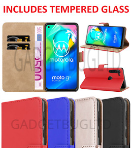 LUXURY CASE FOR MOTOROLA MOTO G8 POWER LITE LEATHER WALLET FLIP + GLASS