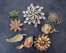 Vintage Brooch Lot, Rhinestone Brooch, Avon Brooch, Flower Brooch, Turtle Brooch