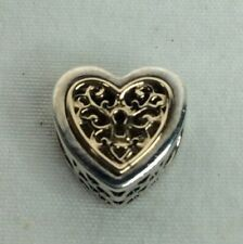 Geniune PANDORA Sterling & Gold Locked Love Heart Charm (C396)
