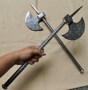 Pair Antique Silver Battle TABAR Axe Ceremonial Parade Indo Persian Niello Inlay