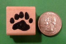 Bear Cub Paw Print Rubber Stamp, Wood Mounted