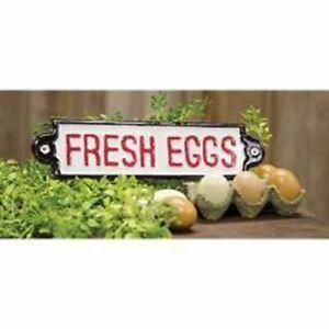 Farmhouse Metal Plaque Fresh Eggs Country Home Decor