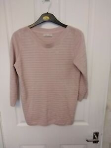 PREOWNED LADIES MARKS AND SPENCER PER UNA JUMPER ROUND NECK RIBBED PINK SIZE 12