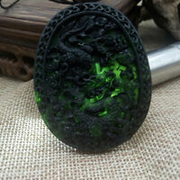 Chinese Natural Black Green Dark Jade Pendant Dragon Hand Carved Lucky Amulets