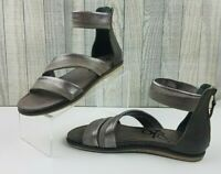 OTBT NEW Women's Souvenir Leather Zinc Metallic Sandal w/ Zip Closure Size 9