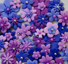 FLOWERS MIXED PURPLES - EDIBLE X 40 - MIXED SIZES - BEAUTIFUL CAKE TOPPERS!!!