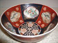 VTG Oriental Asian Bowl Imari Reds & Blues Chinoisoire Hand Painted Macau China