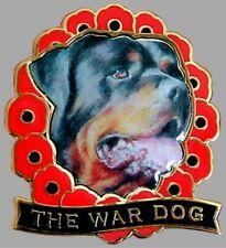 ROTTWEILER WAR DOG REMEMBRANCE DAY POPPY ENAMEL PIN BADGE