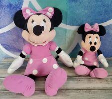 "New listing 2X Disney Minnie Mouse Pin Polka Dot Dress Plush Stuffed Toy 15"" + 10"" Euc"