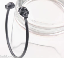 Punk Women Cool Black Metal Skull Bangle Rock Open Cuff Bracelet Gothic Jewelry