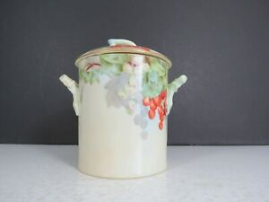 D & Co Limoges France Hand Painted China Milk Jelly Jar with Lid Grapes Ivy
