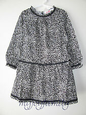 HANNA ANDERSSON Ruffly Dropwaist Dress Black Leopard 160 14 NWT