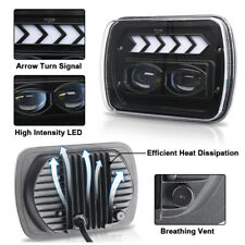 7'' Lens Square LED Angel Eyes Retrofit Headlight DRL High/Low Beam White Light
